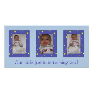 Baby Boy Birthday Photocard Customized Photo Card