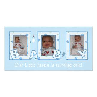 Baby Boy Birthday Photocard Photo Card