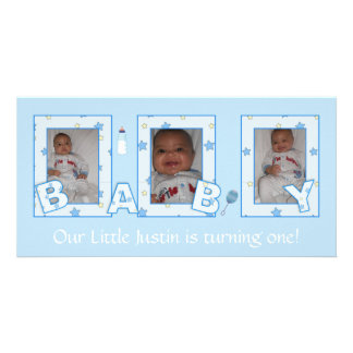 Baby Boy Birthday Photocard Card