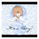 Baby Boy Black Blue Leopard Baby Shower Invitations