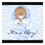 Baby Boy Black Blue Leopard Baby Shower Announcement