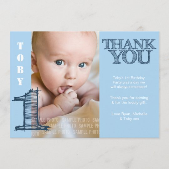 Baby Boy Blue 1st Birthday Thank You Photo Card Zazzle