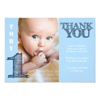 Baby Boy Blue 1st Birthday Thank You Photo Card