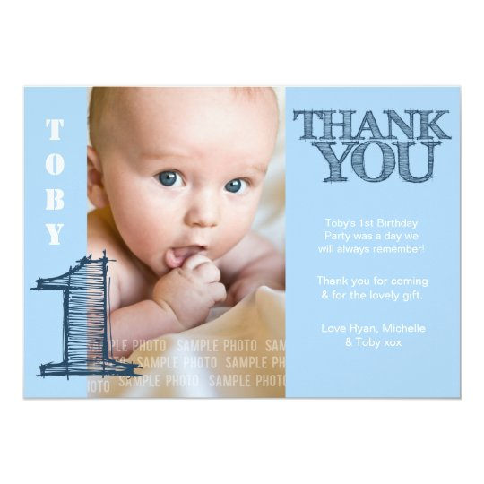 Baby Boy Blue 1st Birthday Thank You Photo Card – First Birthday Thank You Cards