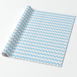 Baby Boy Blue And White Zigzag Chevron Stripes Wrapping Paper at Zazzle