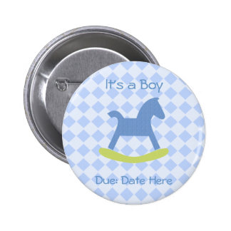 Baby Boy Blue and Yellow Rocking Horse Baby Button