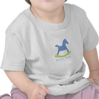 Baby Boy Blue and Yellow Rocking Horse Baby Tshirt