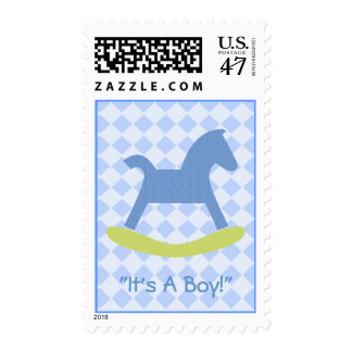 Baby Boy Blue and Yellow Rocking Horse Postage
