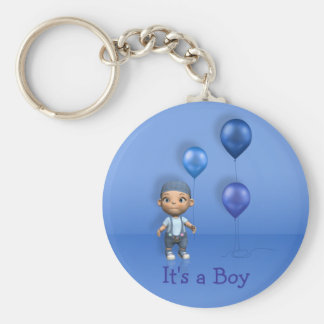 Baby Boy & Blue Balloons - It's a Boy Keychain