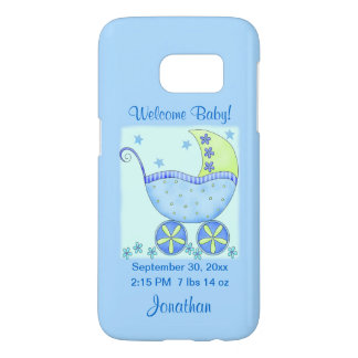 Baby Boy Blue Birth Announcement Name Personalized Samsung Galaxy S7 Case