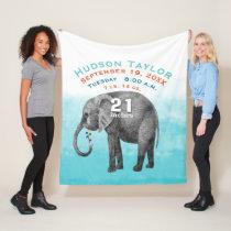Baby Boy Blue Birth Record Stats Elephant Fleece Blanket