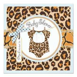 baby boy blue bow tie cheetah print baby shower card