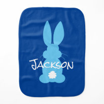 Baby Boy Blue Bunny Silhouette Personalized Burp Cloth
