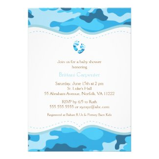 Baby Boy Blue Camo Shower Invitation with feet
