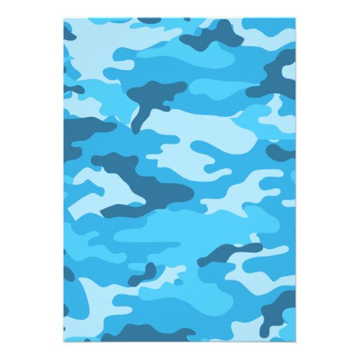 Baby Boy Blue Camo Shower Invitation with feet (back side)