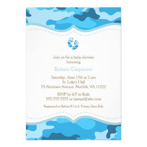 Baby Boy Blue Camo Shower Invitation with feet (front side)