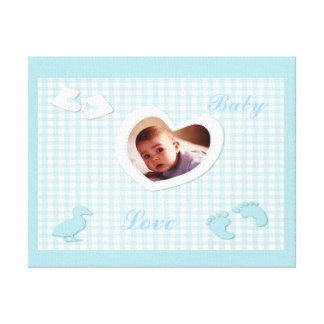 Baby Boy Blue Checks Photo Template Canvas Print