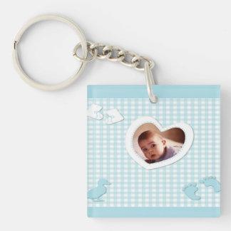 Baby Boy Blue Checks Photo Template Keychain