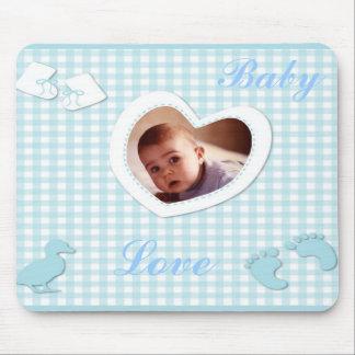Baby Boy Blue Checks Photo Template Mouse Pad