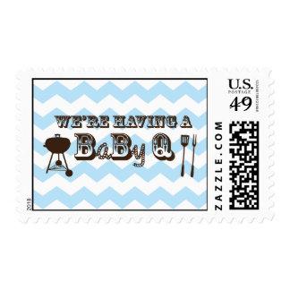 Baby Boy Blue Chevron Pattern Baby Q Stamp