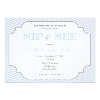 Baby Boy Blue Chevron Sip and See Invitation