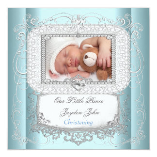 Baby Boy Blue Christening Baptism Cross Prince Personalized Invitations