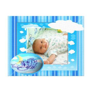 Baby Boy Blue Clouds & Stripes Photo Template Canvas Print
