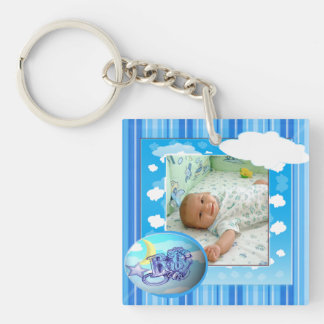 Baby Boy Blue Clouds & Stripes Photo Template Keychain