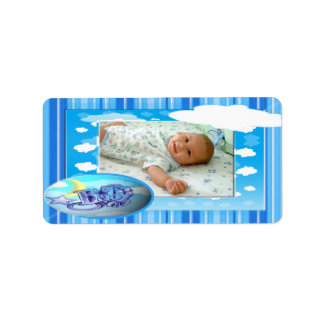 Baby Boy Blue Clouds & Stripes Photo Template Label