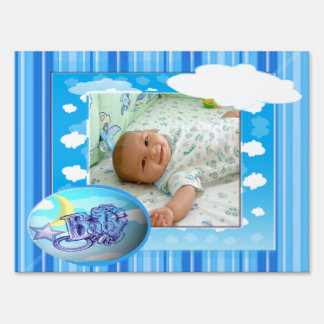 Baby Boy Blue Clouds & Stripes Photo Template Lawn Signs