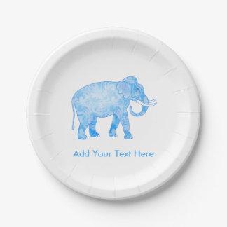 Baby Boy Blue Elephant Paper Plate