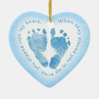 Baby Boy Blue Footprint Photo Ornament