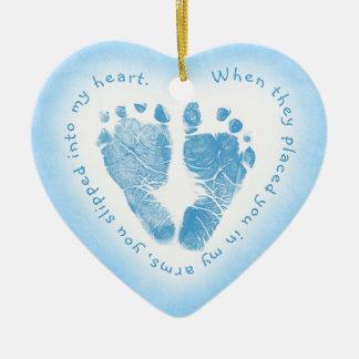 Baby Boy Blue Footprint Photo Ornament
