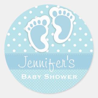 Baby Boy Blue Footprint Polka Dot Shower Stickers