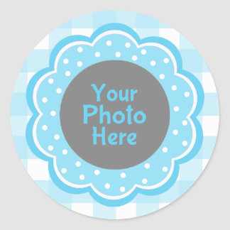 Baby Boy Blue Gingham Photo Round Stickers