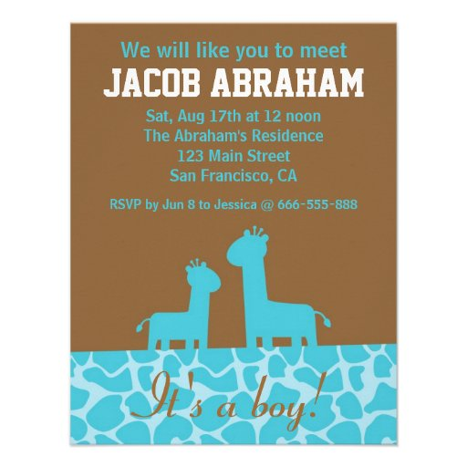 Baby Boy - Blue giraffe silhouettes and pattern Personalized Announcements