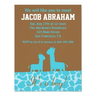"Baby Boy - Blue giraffe silhouettes and pattern 4.25"" X 5.5"" Invitation Card"