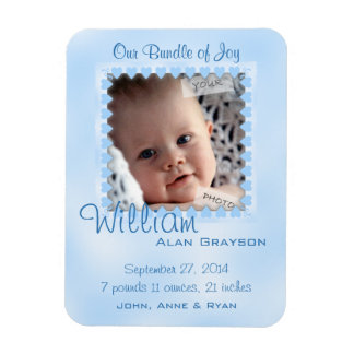 Baby Boy Blue Hearts Photo Birth Announcement Magnet