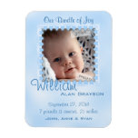 Baby Boy Blue Hearts Photo Birth Announcement Rectangular Photo Magnet
