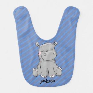 Baby Boy Blue Hippo Adjustable Text Bib