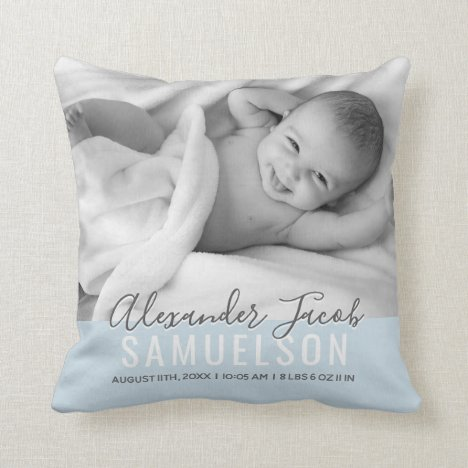 BABY Boy Blue Keepsake Name Birth Date PHOTO Throw Pillow
