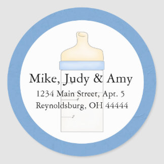 Baby Boy Blue Milk Bottle Round Address Label