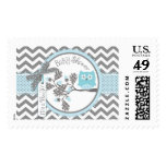 Baby Boy Blue Owl Chevron Print Baby Shower Postage