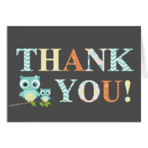 Baby Boy Blue Owl Thank yoU Card