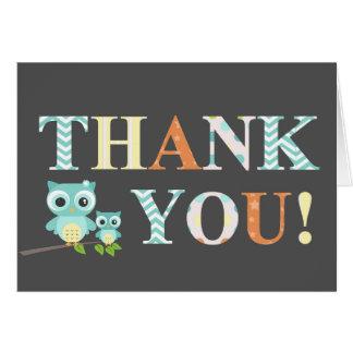 Baby Boy Blue Owl Thank yoU Card