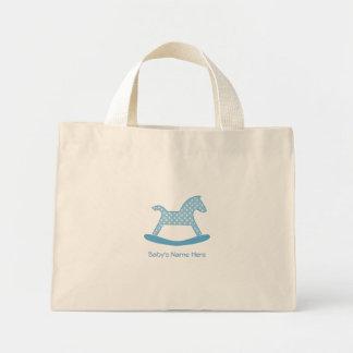 Baby Boy Blue  Polka Dot Rocking Horse Tote Bag