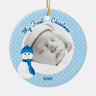 Baby Boy Blue Snowman First Christmas Photo Christmas Ornament