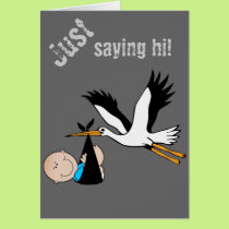 Baby Boy Blue & Stork Card