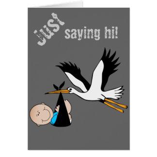 Baby Boy Blue & Stork Card