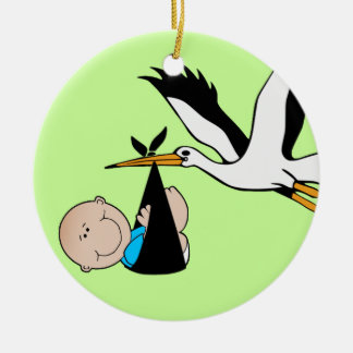 Baby Boy Blue & Stork Ceramic Ornament
